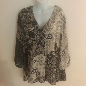 Rose & Olive Paisley Career Tunic Top Size 2X